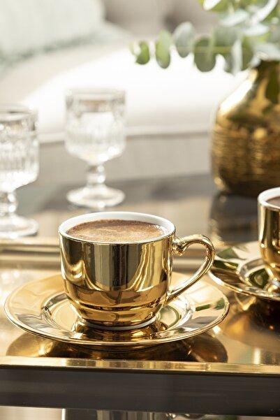 English Home Fora Porselen 2 Kişilik Kahve Fincan Takımı 100 ml Gold