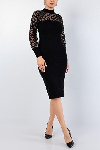 Md1 Collection Kadın Siyah Flok Baskı Nişan Düğün Partı Gece Triko Elbise 76766