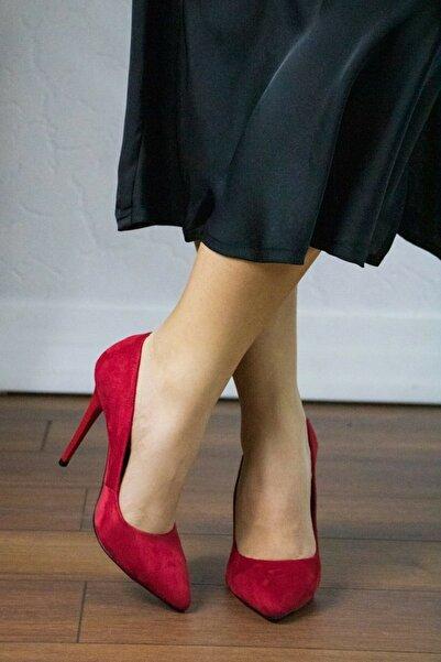 GULT Kadın Stiletto Ince Yüksek Topuklu Ayakkabı Kırmızı Süet