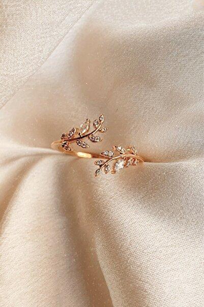 Eva Jewelry Akasya Çiçeği 14 K Rose Altın Kaplama Kadın Yüzük