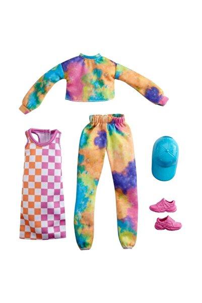 Barbie 'nin Kıyafetleri 2'li Paket Fyw82 - Turuncu-pembe Kare Elbise