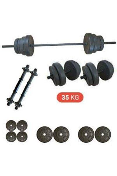 Tedarikcenter 35 Kg Vidalı Dambıl Halter Düz Bar Set Fitness Dumbell Ağırlık Seti Vücut Geliştirme Aleti