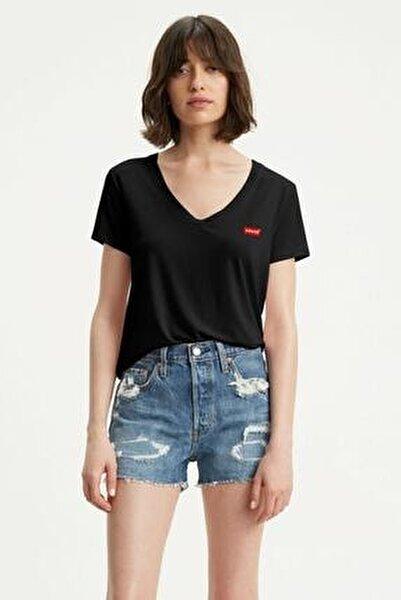 Perfect Vneck Caviar Siyah Kadın Tişört