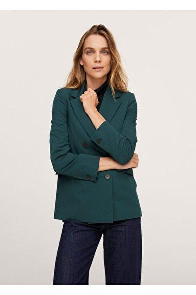 MANGO Woman Kadın Yeşil Kruvaze Yakalı Blazer Ceket