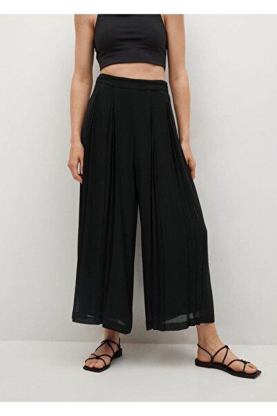 MANGO Woman Kadın Siyah Pilili Pantolon Etek