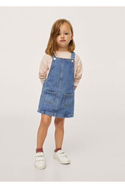 MANGO Baby Bebek Donuk Mavi Cepli Kot Jile Elbise