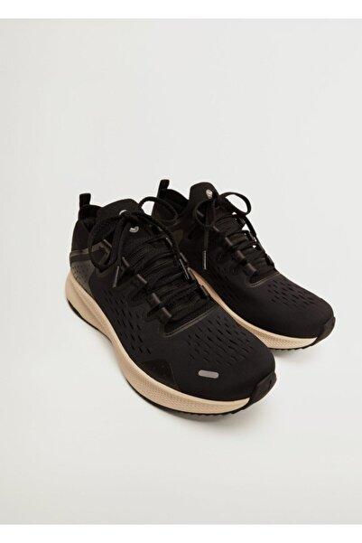 MANGO Man Erkek Siyah Sneaker Koşu Ayakkabı