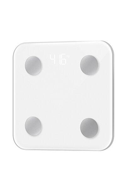 TEKNOHANE Yağ Ölçer Fonksiyonlu Akıllı Bluetooth Baskül Tartı Terazi Beyaz