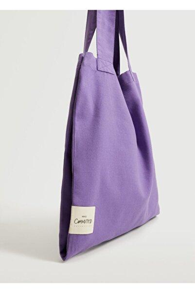 MANGO Woman Kadın Lila Pamuklu Shopper Çanta
