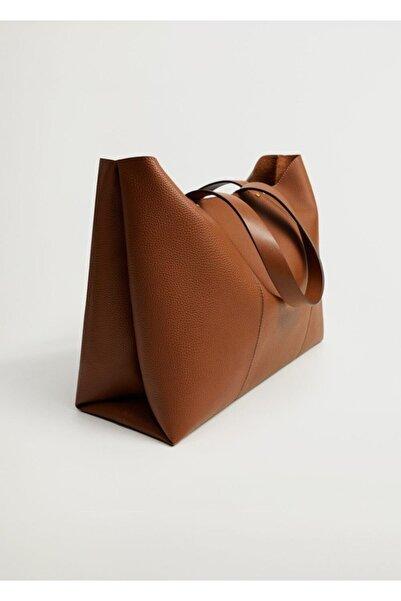 MANGO Woman Kadın Orta Kahverengi Dikişli Shopper Çanta