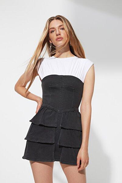 TRENDYOLMİLLA X Sagaza Studio Antrasit-Çok Renkli Denim Elbise TPRAW22EL1990