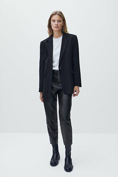 Massimo Dutti Kadın Tek Düğmeli Siyah Blazer