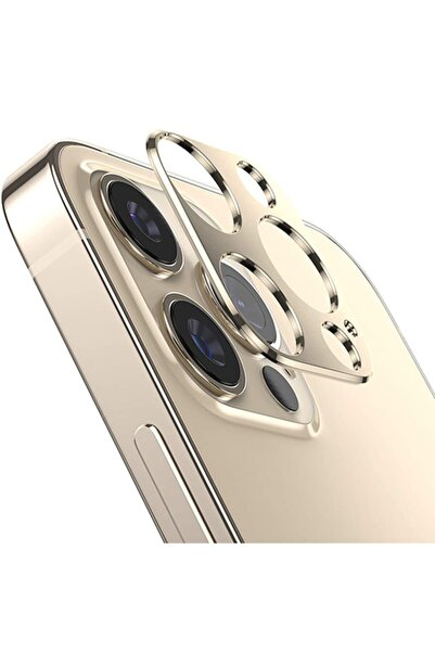 Ally Mobile Iphone 12 Pro Max 3d Metal Kamera Koruyucu Metal Lens-gold