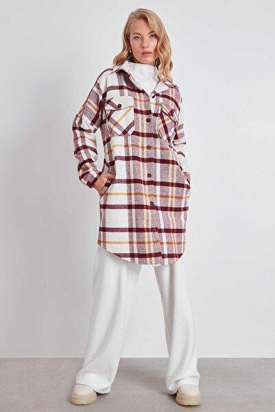 Vitrin Ekose Cepli Oduncu Gömlek Elbise