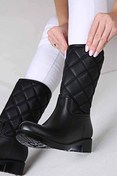 Ccway Kadın Kapitoneli Yağmur Botu Siyah