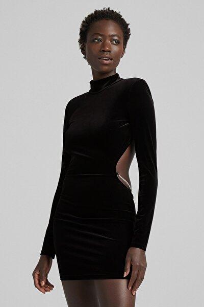 Bershka Parlak Taşlı Kadife Elbise