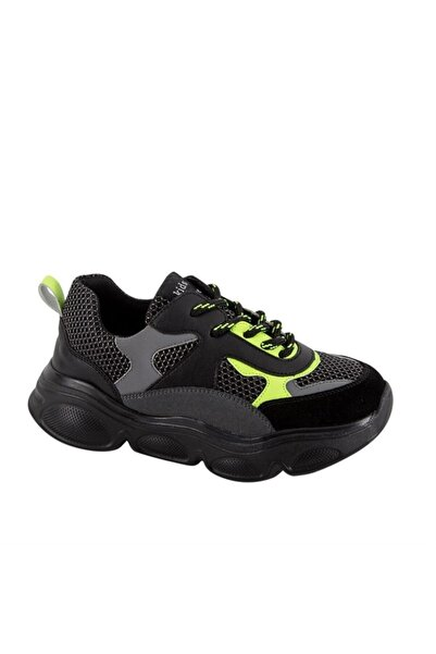 kids A more Neo Bağcıklı Air File Detaylı Deri Erkek Çocuk Sneaker Siyah-sarı