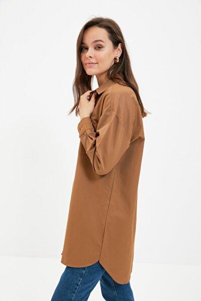 Trendyol Modest Koyu Kahverengi Gömlek Yaka Tunik TCTAW22UK0080