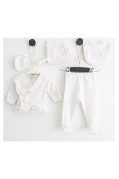 Pugi Baby Fiyonklu Dantelli Kız Bebek 5'li Hastane Çıkış Seti