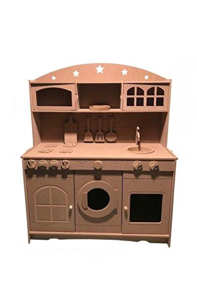 Özka Hobi Ahşap Ahşap Mdf 3 Kapaklı Montessori Eğitici Oyuncak Mutfak Seti + 2 Adet Boya