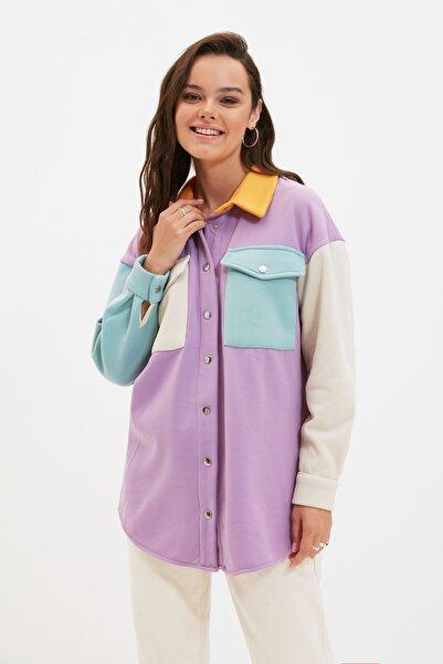 Trendyol Modest Mor Gömlek Yaka Renk Bloklu Cep Detaylı Örme Ceket TCTAW22CK0038