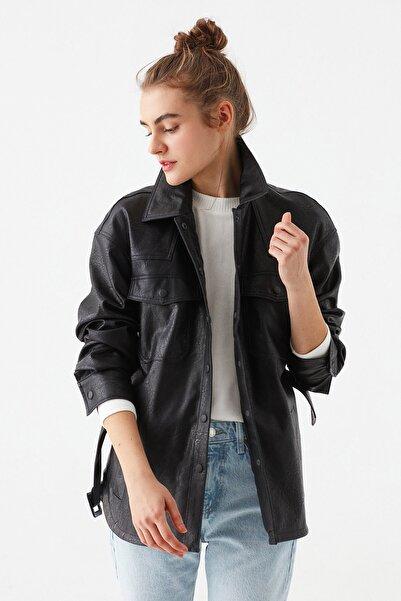 Mavi Kadın Kemerli Siyah Ceket 110803-900