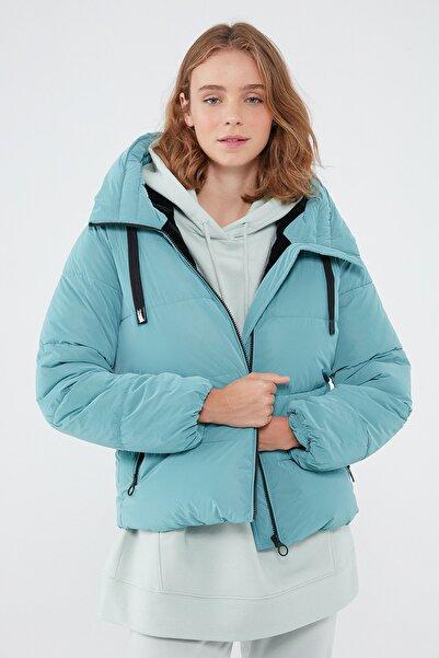 Mavi Kadın Kapüşonlu Yeşil Mont 110699-34617