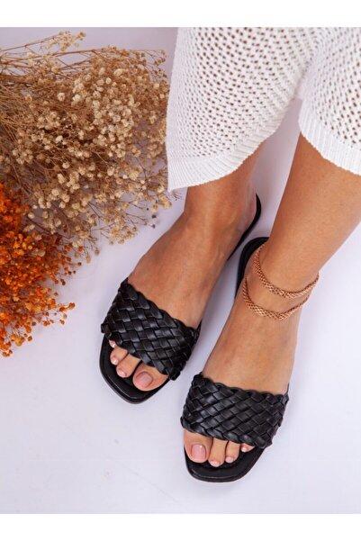 ayakkabıhavuzu Kadın Siyah Örgü Terlik