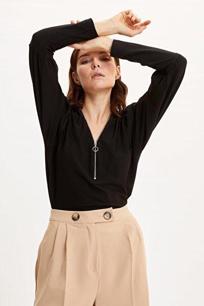 DeFacto Fermuarlı Uzun Kollu Tişört