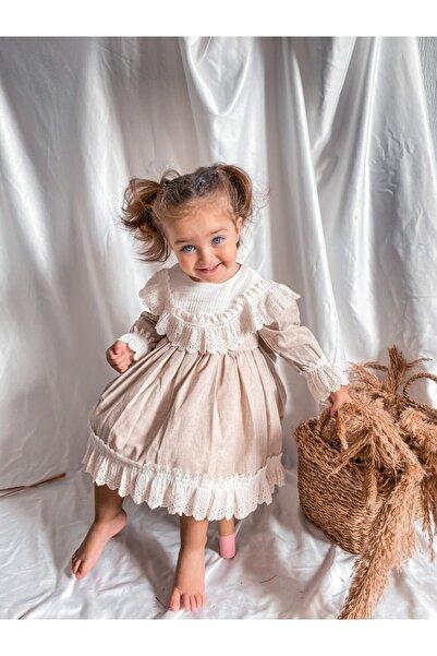 Magu Kız Çocuk Bej Fistolu Vintage Elbise