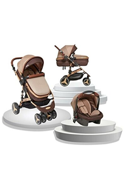 Deyzikids Joell Yeni Model Truva Travel Sistem Bebek Arabası Gold Kahve 4 Baby Esse Puset