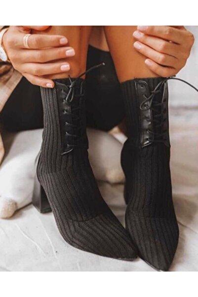 Afilli Siyah Triko Kalın Topuklu Çorap Kadın Bot Buti Bağcıklı