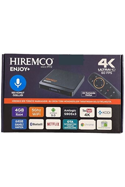 Hiremco Enjoy + 4k Ultra Hd 60 Fps 4/64 Android Box 9.0 Yeni Model Air Kumanda Hediye Elektronix