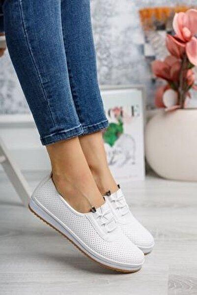 Ortopedik Pedli Lazerli Beyaz Ayakkabı