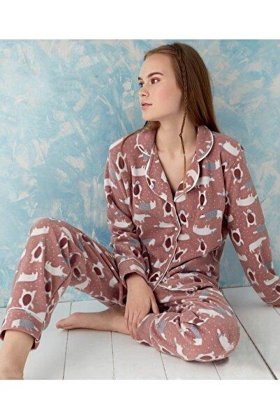 Sude Homewear Plr-p-9005 Gül Kurusu Önden Düğmeli Polar Pijama Takımı