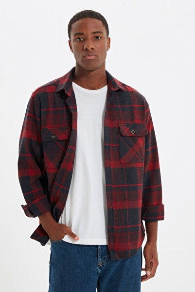 TRENDYOL MAN Bordo Erkek Çift Cep Kapaklı Regular Fit Gömlek TMNAW21GO0031