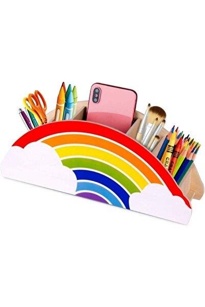 Renkli Home Ahşap Gökkuşağı Çocuklar İçin Masaüstü Kalemlik Kalem Kutusu Organizer