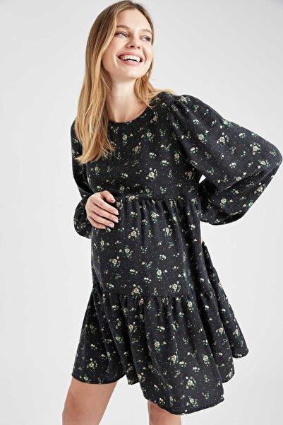 DeFacto Kadın Siyah Hamile Volan Detaylı Desenli Elbise