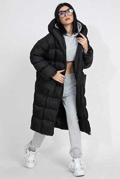 VAPUR TEKSTİL Kadın Siyah Kapüşonlu Uzun Oversize Şişme Mont