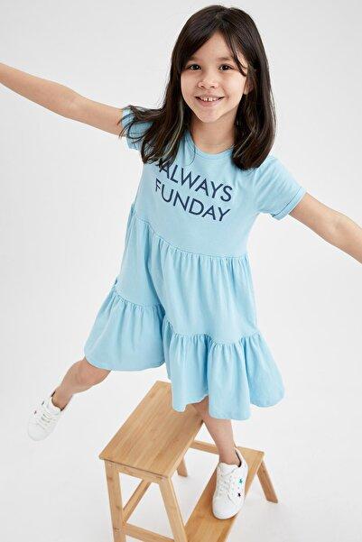 DeFacto Kız Çocuk Yazı Baskılı Kısa Kol Örme Elbise