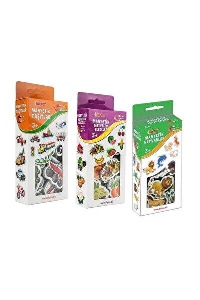 DF Toys 3'lü Manyetik Hayvanlar - Meyveler Sebzeler - Taşıtlar Magnet