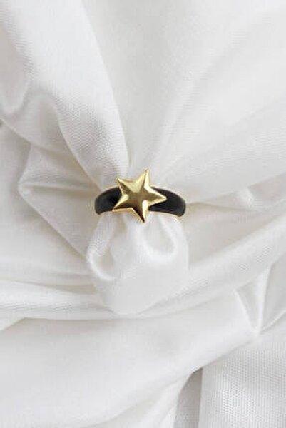Kadın Gold Yıldız Siyah Renk Yüzük
