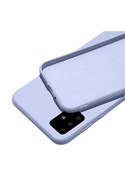 FlueTech Samsung Galaxy M21  uyumlu  Lila Renk Kadife Tabanlı Nicelans Kılıf