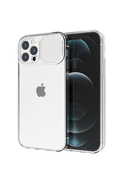 Moserini Iphone 12 Pro Max Uyumlu Şeffaf Sürgülü Köşe Korumalı Arka Kapak Telefon Kılıfı