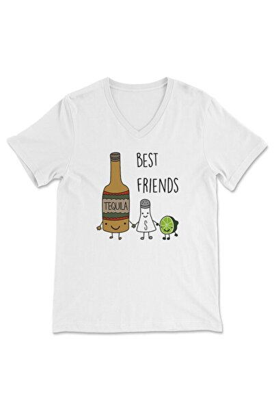 TisortFabrikasi Best Friends Desenli Unisex V Yaka Tişört, V Yaka T-shirt