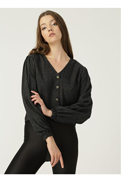 Quzu 20k11096 Siyah Kadın Gömlek