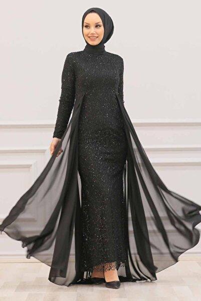 Nayla Collectıon Nayla Collection - Pullu Siyah Tesettür Abiye Elbise 90000s