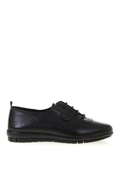 Cotton Bar Siyah Deri Düz Ayakkabı