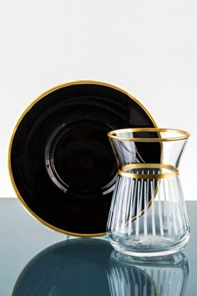 Siyah 12 Parça 6 Kişilik Çay Takımı