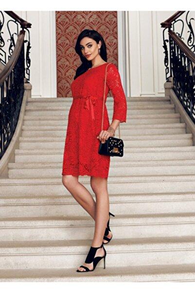 Ebru Maternity Kadın Kırmızı Dantelli Hamile Abiye Elbise 3286